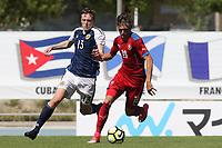 Iain Wilson of Scotland and Czech Republic's Martin Graiciar during Czech Republic Under-20 vs Scotland Under-20, Toulon Tournament Football at Stade de Lattre-de-Tassigny on 10th June 2017