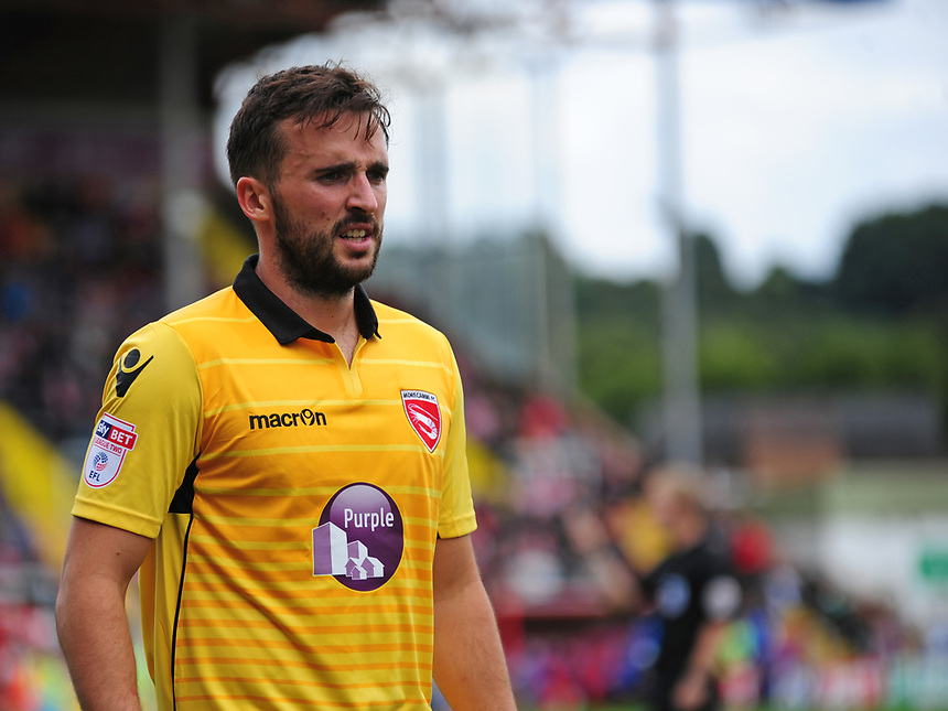 Morecambe's Aaron Wildig<br /> <br /> Photographer Andrew Vaughan/CameraSport<br /> <br /> The EFL Sky Bet League Two - Lincoln City v Morecambe - Saturday August 12th 2017 - Sincil Bank - Lincoln<br /> <br /> World Copyright &copy; 2017 CameraSport. All rights reserved. 43 Linden Ave. Countesthorpe. Leicester. England. LE8 5PG - Tel: +44 (0) 116 277 4147 - admin@camerasport.com - www.camerasport.com