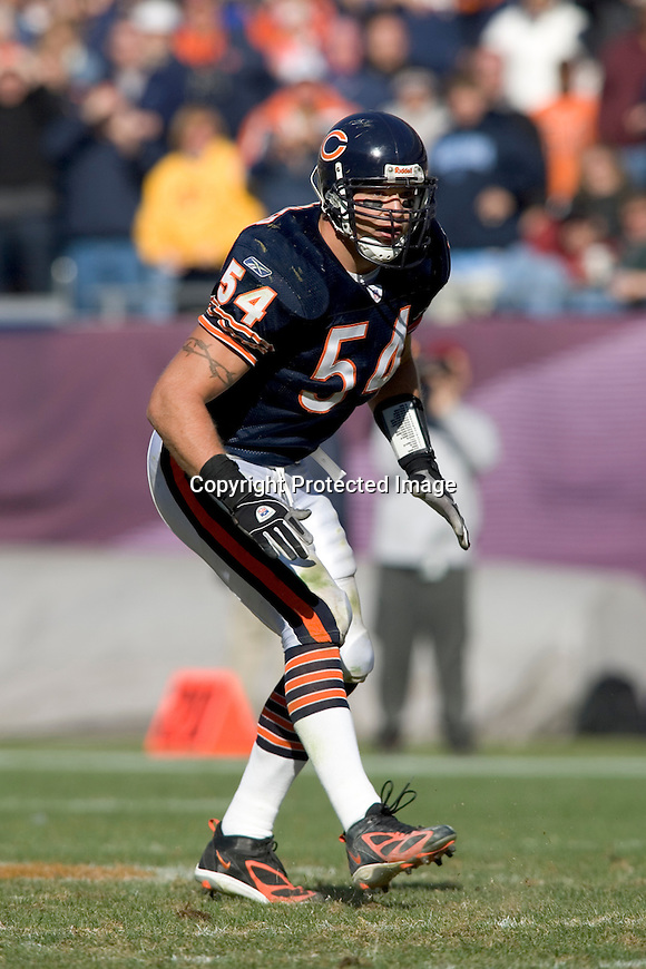 Chicago Bears linebacker Brian Urlacher (54) during an NFL football game against the Washington Redskins at Soldier Field in Chicago, Illinois on October 17. The Redskins beat the Bears 13-10. (Photo by David Stluka)