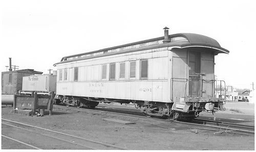 3/4 view of office car #0291 and water car #0465 at Alamosa.<br /> D&amp;RGW  Alamosa, CO  Taken by Richardson, Robert W. - 1/2/1949