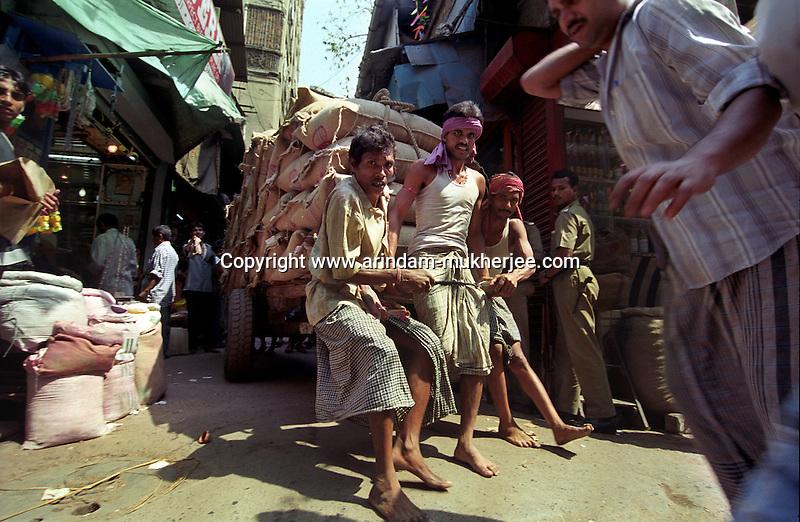 Cart Pullers in Calcutta, India
