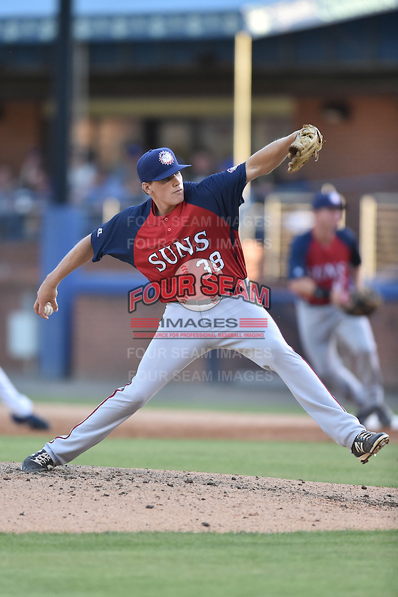 Hagerstown Suns starting pitcher James Bourque (38) delivers a pitch during a game against the Asheville Tourists at McCormick Field on June 8, 2016 in Asheville, North Carolina. The Tourists defeated the Suns 10-8. (Tony Farlow/Four Seam Images)