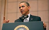 United States President Barack Obama makes remarks at the U.S. Holocaust Memorial Museum in Washington DC on April 23, 2012. .Credit: Dennis Brack / Pool via CNP