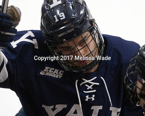 Ted Hart (Yale - 19) - The Harvard University Crimson tied the visiting Yale University Bulldogs 1-1 on Saturday, January 21, 2017, at the Bright-Landry Hockey Center in Boston, Massachusetts.