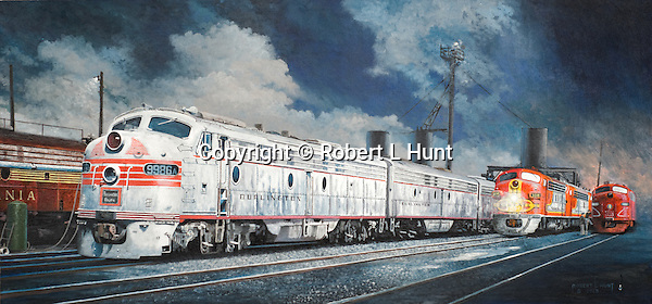 "Diesel F units from the Pennsylvania, Burlington, Santa Fe, and the Rock Island railroads meet at the refueling and sanding servicing racks in Chicago, Illinois. Oil on canvas: 16' x 34""."