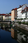 Buildings along the Ljubljanica River in Ljubljana, Slovenia.