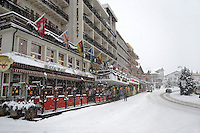 Grindelwald town centre  in the winter snow. Ski resort - Swiss Alps