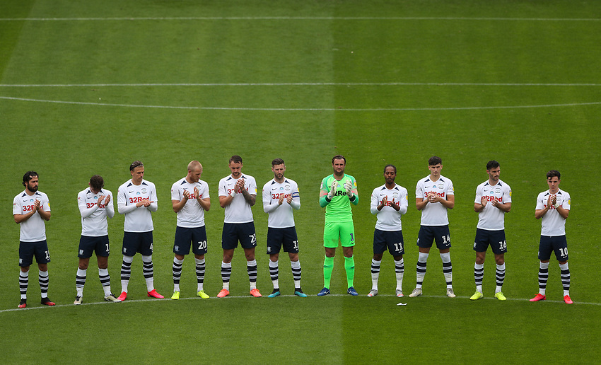 Preston North End players applaud for a minute in remembrance before the game<br /> <br /> Photographer Alex Dodd/CameraSport<br /> <br /> The EFL Sky Bet Championship - Leeds United v Barnsley - Thursday 16th July 2020 - Elland Road - Leeds<br /> <br /> World Copyright © 2020 CameraSport. All rights reserved. 43 Linden Ave. Countesthorpe. Leicester. England. LE8 5PG - Tel: +44 (0) 116 277 4147 - admin@camerasport.com - www.camerasport.com<br /> <br /> Photographer Alex Dodd/CameraSport<br /> <br /> The EFL Sky Bet Championship - Preston North End v Birmingham City - Saturday 18th July 2020 - Deepdale Stadium - Preston<br /> <br /> World Copyright © 2020 CameraSport. All rights reserved. 43 Linden Ave. Countesthorpe. Leicester. England. LE8 5PG - Tel: +44 (0) 116 277 4147 - admin@camerasport.com - www.camerasport.com