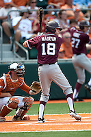 Texas A&M Aggies outfielder Tyler Naquin #18 at bat during the NCAA baseball game against the Texas Longhorns on April 28, 2012 at UFCU Disch-Falk Field in Austin, Texas. The Aggies beat the Longhorns 12-4. (Andrew Woolley / Four Seam Images)..