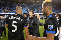 San Jose, CA - Saturday May 06, 2017: Marco Ureña, Victor Bernardez after a Major League Soccer (MLS) match between the San Jose Earthquakes and the Portland Timbers at Avaya Stadium.