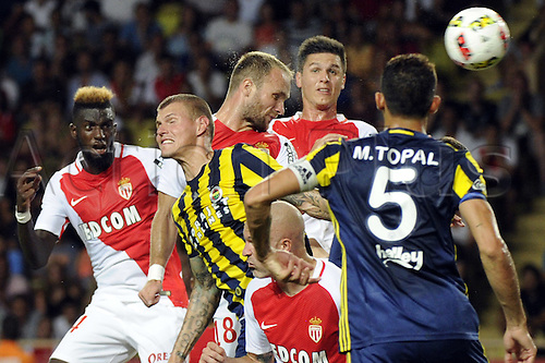 03.08.2016. Monaco, France. UEFA Champions league qualifying round, AS Monaco versus Fenerbahce.  Valere Germain (mon) challenged by Topla (fen) from the cross