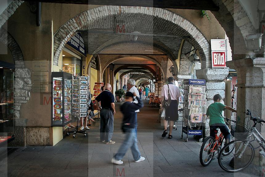 Arcade on down town street of Desenzano