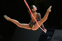 Anna Bessonova of Ukraine split leaps with rope at 2007 Thiais Grand Prix near Paris, France on March 24, 2007.