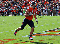 Oct 30, 2010; Charlottesville, VA, USA;   Virginia Cavaliers tight end Colter Phillips (89) runs in for a touchdown during the 1st half of the game aginst the Miami Hurricanes at Scott Stadium.  Mandatory Credit: Andrew Shurtleff