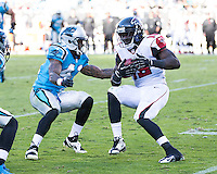 The Carolina Panthers defeated the Atlanta Falcons 34-10 in an inter-division rivalry played in Charlotte, NC at Bank of America Stadium.  Atlanta Falcons wide receiver Drew Davis (19) runs after a reception.