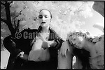 August 1989: Portrait of Diamanda Galas in Calvary cemetary in Queens, New York.  Shot on black and white infrared film...Copyright 2010 Catherine McGann