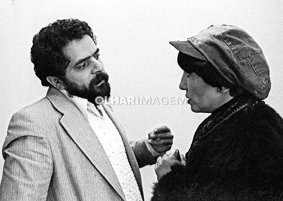 Luis Inacio Lula da Silva e Ruth Escobar no Encontro de Oposições. Sao Bernardo do Campo. 1979. Sao Paulo. Foto de Juca Marrins.