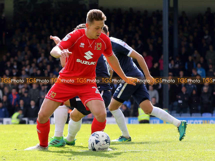 Callum Brittain of MK Dons in action during Southend United vs MK Dons, Sky Bet EFL League 1 Football at Roots Hall on 17th April 2017