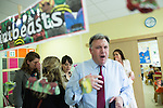 © Joel Goodman - 07973 332324 . 14/06/2016 . Burnley , UK . Ed Balls campaigning for Remain , in the EU referendum , at Giant Leap Child Care and Learning House in Burnley . Photo credit : Joel Goodman