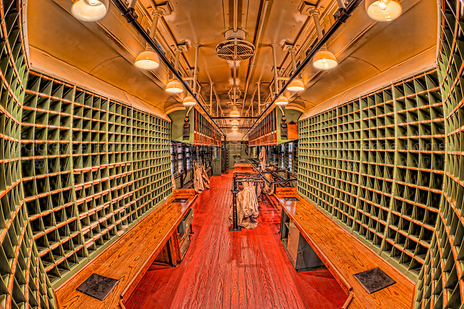 The interior of a Louisville and Nashville Railroad Post Office (RPO) car in the museum at the Steamtown National Historic Site in Scranton, Pennsylvania