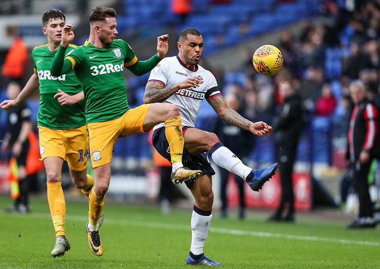 Bolton Wanderers' Josh Magennis competing with Preston North End's Alan Browne  <br /> <br /> Photographer Andrew Kearns/CameraSport<br /> <br /> The EFL Sky Bet Championship - Bolton Wanderers v Preston North End - Saturday 9th February 2019 - University of Bolton Stadium - Bolton<br /> <br /> World Copyright &copy; 2019 CameraSport. All rights reserved. 43 Linden Ave. Countesthorpe. Leicester. England. LE8 5PG - Tel: +44 (0) 116 277 4147 - admin@camerasport.com - www.camerasport.com