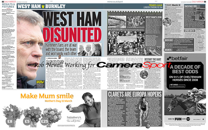 Daily Mirror 10-Mar-2018 - David Moyes of West Ham United - Photo by Rob Newell (Camerasport via Getty Images)