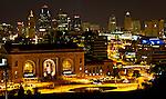 Lights illuminate Union Station at night in Kansas City, Missouri