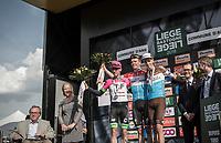 Podium:<br /> <br /> 1st place: Bob Jungels (LUX/Quick Step Floors)<br /> 2nd place: Michael Woods (CAN/EducationFirst-Drapac)<br /> 3th place: Romain Bardet (FRA/AG2R La Mondiale)<br /> <br /> <br /> 104th Liège - Bastogne - Liège 2018 (1.UWT)<br /> 1 Day Race: Liège - Ans (258km)
