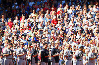 Derek Jeter #2 and members of the New York Yankees listen to the national anthem prior to the game against the Boston Red Sox at Fenway Park in his final career game on September 27, 2014 in Boston, Massachusetts. (Photo by Jared Wickerham for the New York Daily News)