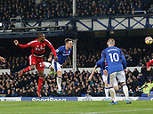5th November 2017, Goodison Park, Liverpool, England; EPL Premier League Football, Everton versus Watford;  Christian Kabasele of Watford scores his side's second goal after 64 minutes