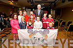 Pictured at the opening of the Gathering of the Clans festival in The Kerry Coast Hotel in Cahersiveen on Thursday last were front l-r; Leah Clarke, Sarah O'Shea, Siun Curran, Saoirce Curran, Saidbh Geary-O'Sullivan, Emily O'Shea, back l-r; Emily Jouen, Joshua Clarke, Isabelle Curran, Tim O'Connor(Chairman of the Gathering Ireland 2013), Lorna O'Shea & Corinna Geary-O'Sullivan.