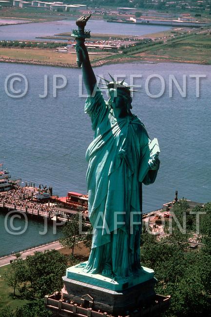 1970's, New York City, New York: Statue of Liberty before renovation.