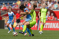Bridgeview, IL - Sunday June 04, 2017: Christen Press, Rachel Corsie during a regular season National Women's Soccer League (NWSL) match between the Chicago Red Stars and the Seattle Reign FC at Toyota Park.