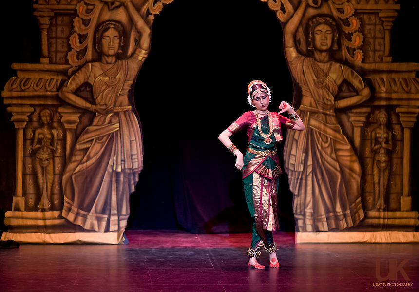 Neha during her Arangetram at the Eisemann Center in Richardson, Texas