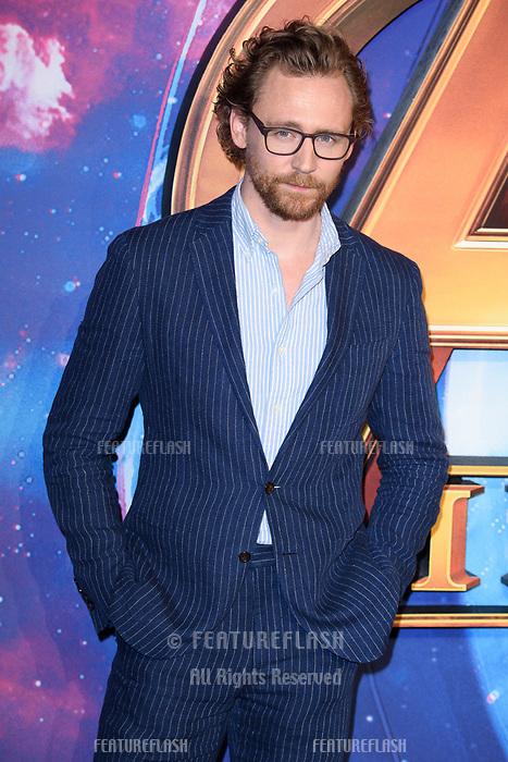 Tom Hiddleston arriving for the &quot;Avengers: Infinity War&quot; fan event at the London Television Studios, London, UK. <br /> 08 April  2018<br /> Picture: Steve Vas/Featureflash/SilverHub 0208 004 5359 sales@silverhubmedia.com