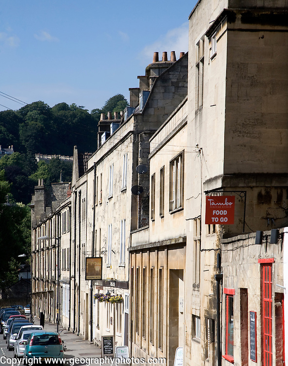 Buildings in Grove Street,  including the Rising Sun pub, Bath, Somerset, England