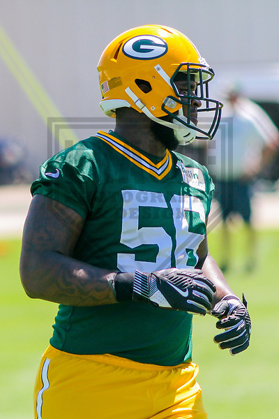 Green Bay Packers linebacker Johnathan Calvin (56) during a minicamp practice on June 15, 2017 at Clarke Hinkle Field in Green Bay, Wisconsin.  (Brad Krause/Krause Sports Photography)