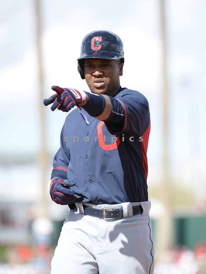 Cleveland Indians Jose Ramirez (11) during a Spring Training game against the Cincinnati Reds on March 3, 2015 at Goodyear Ballpark in Goodyear, AZ. The Reds beat the Indians 10-0.