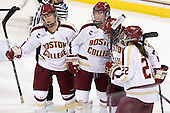 Alex Carpenter (BC - 5), Ashley Motherwell (BC - 18), Blake Bolden (BC - 10), Haley Skarupa (BC - 22) - The Boston College Eagles tied the visiting Boston University Terriers 5-5 on Saturday, November 3, 2012, at Kelley Rink in Conte Forum in Chestnut Hill, Massachusetts.