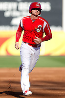Aaron Luna (10) of the Springfield Cardinals rounds the bases during a game against the Frisco RoughRiders on April 16, 2011 at Hammons Field in Springfield, Missouri.  Photo By David Welker/Four Seam Images