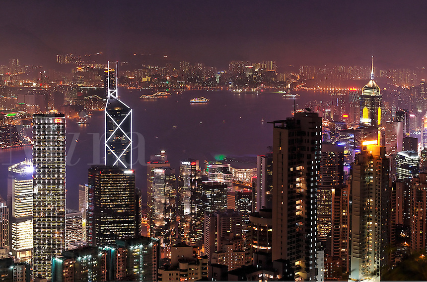 Hong Kong city skyline viewed from Victoria Peak at night, Hong Kong SAR, China, Asi