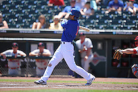 Iowa Cubs Munenori Kawasaki (1) swings during the Pacific Coast League game against the Memphis Redbirds at Principal Park on June 7, 2016 in Des Moines, Iowa.  Iowa won 6-5.  (Dennis Hubbard/Four Seam Images)
