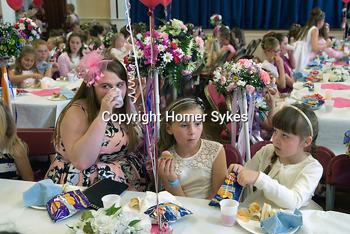Neston Female Friendly Society Annual Club Walking Day. Neston Cheshire UK 2015. Girls aged 5-15 yrs of age can walk and then become members. Tea in the Civic Hall at the end of the day.