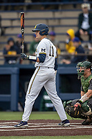 Michigan Wolverines catcher Harrison Salter (11) at bat during the NCAA baseball game against the Michigan State Spartans on May 7, 2019 at Ray Fisher Stadium in Ann Arbor, Michigan. Michigan defeated Michigan State 7-0. (Andrew Woolley/Four Seam Images)
