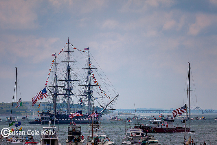 The annual July 4th turnaround cruise of the USS Constitution, Boston, Massachusetts, USA
