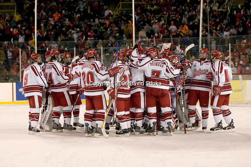 GREEN BAY, WI - FEBRUARY 11: The Wisconsin Badgers celebrate their victory over the Ohio State Buckeyes during the Frozen Tundra Hockey Classic at Lambeau Field on February  11, 2006 in Green Bay, Wisconsin. The Badgers defeated the Buckeyes 4-2. (Photo by David Stluka)