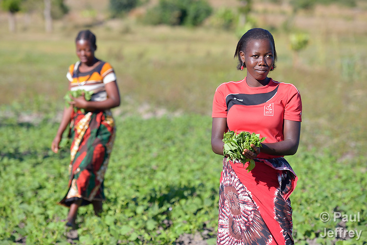 A woman displays her harvest in a community vegetable garden in Kayeleka Banda, Malawi, supported by the Maternal, Newborn and Child Health program of the Livingstonia Synod of the Church of Central Africa Presbyterian.