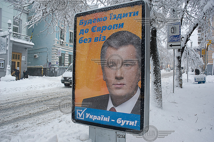 A billboard with a picture of Ukrainian President Viktor Yushchenko (Our Ukraine party), in the build-up to the 2010 presidential elections.