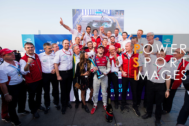 Daniel Abt of Germany from Audi Sport ABT Schaeffler celebrates with the trophy after winning FIA Formula E Hong Kong E-Prix Round 2 at the Central Harbourfront Circuit on 03 December 2017 in Hong Kong, Hong Kong. Photo by Marcio Rodrigo Machado / Power Sport Images