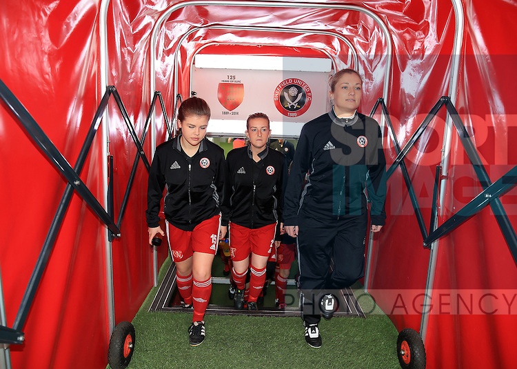 The Sheffield United Ladies team make their way onto the pitch to warm up prior to kick off during the FA Women's Cup First Round match at Bramall Lane Stadium, Sheffield. Picture date: December 4th, 2016. Pic Clint Hughes/Sportimage